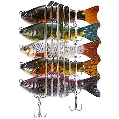 (Lixada Fishing Lure Set Multi Jointed Segment Swimbait Lifelike Hard Bait Crankbait Treble Hooks 3D Eyes Popper Crankbait Vibe Sinking Lure for Bass Trout Perch)