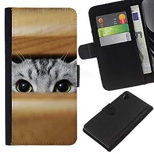 Planetar® Modelo colorido cuero carpeta tirón caso cubierta piel Holster Funda protección Para Sony Xperia Z2 D6502 ( Gato que mira a escondidas grises Ojos verdes Caza Juego )