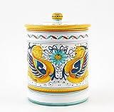 Hand Painted Italian Ceramic 8.6-inch Canister Raffaellesco - Handmade in Deruta
