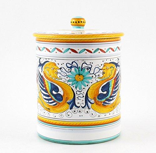 Hand Painted Italian Ceramic 8.6-inch Canister Raffaellesco - Handmade in Deruta by Fima