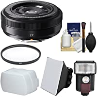 Fujifilm 27mm f/2.8 XF Lens with Flash + Diffuser + Soft Box + Filter + Kit for X-A2, X-E2, X-E2s, X-M1, X-T1, X-T10, X-Pro2 Cameras