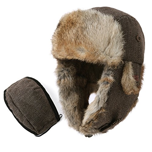 Rabbit Fur Trooper Hat - Mens Womens 29% Wool Rabbit Fur Winter Hunting Mask Bomber Trapper Flaps Cap 24