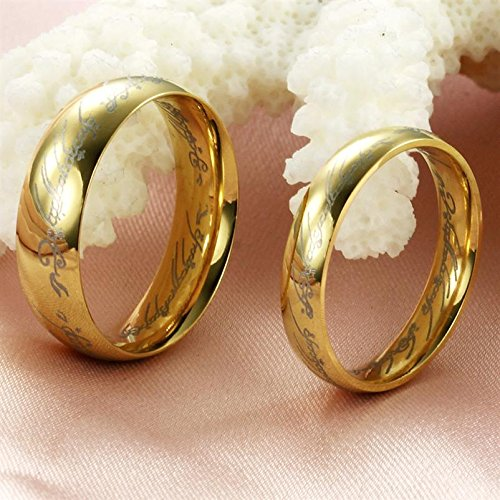 amazoncom fashion ring the lord of the rings couple jewelry stainless steel wedding ring 320 m10 wedding bands jewelry - Lord Of The Rings Wedding Ring