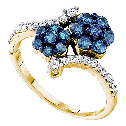 Jewels By Lux 10kt Yellow Gold Womens Round Blue Color Enhanced Diamond Double Flower Cluster Ring 3/4 Cttw In Cluster Setting (I2-I3 clarity; Blue color) Ring Size 7