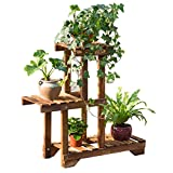 Balcony flower stand solid wood color balcony living room multi-layer multi-meat indoor flowerpot frame-A