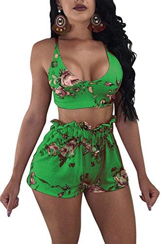 Print Floral Green (Voghtic Women Boho Floral Print Tank Crop Top Short Pants 2 Piece Outfits Jumpsuit)