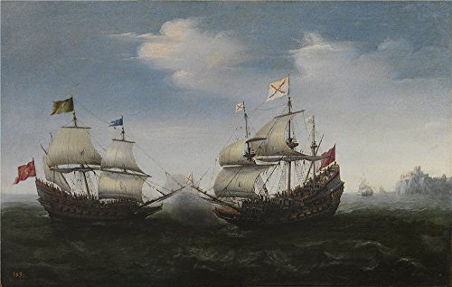 Oil Painting 'Vroom Hendrick Cornelisz Combate Naval Frente A Una Costa Rocosa 1626 27', 12 x 19 inch / 30 x 48 cm , on High Definition HD canvas prints, Kitchen, Nursery And Study Room Decoration (Neo Skin Jumpsuit)