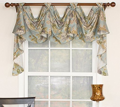 - RLF HOME Floral Essesnce 3-Scoop Blue Window Dressings Victory Swag,
