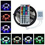 BESTVERT 12V 16.4ft(5M)/Roll 3528 SMD RGB 300 Leds Color Changing Non-Waterproof Flexible LED Strip Light 60leds/M LED Tape Kit+ 44 Key IR Remote Control