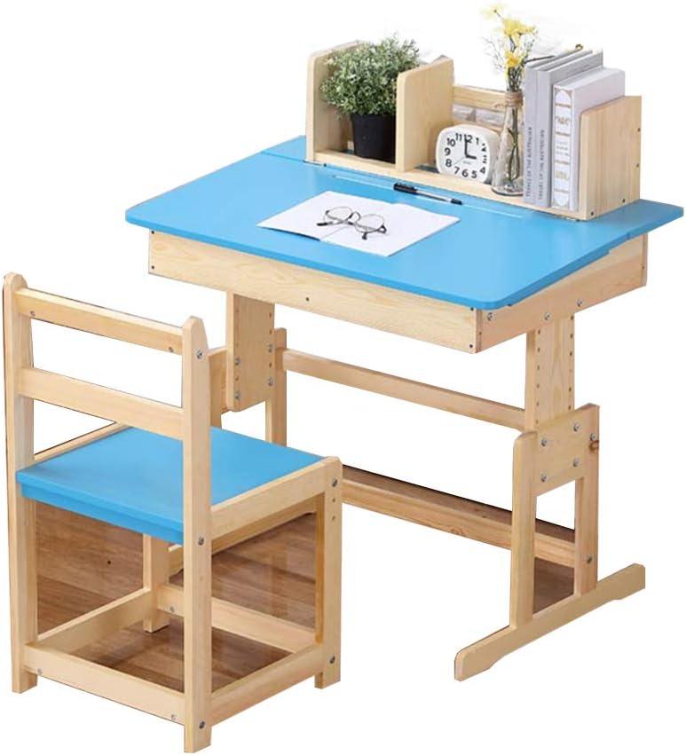 Juegos de mesas y sillas Mesa y silla mesa de estudio de madera maciza mesa de estudio para el hogar mesa de dormitorio y juego de silla pueden elevarse y bajarse (