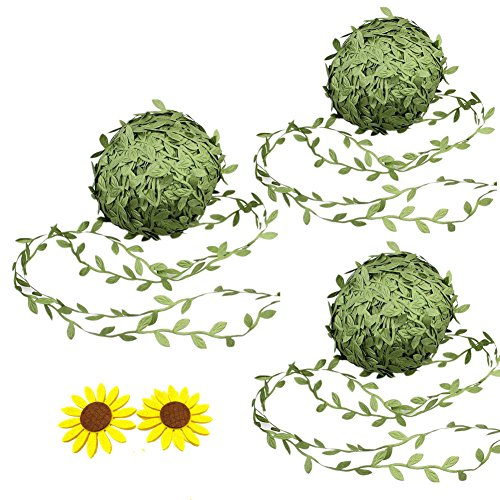 Zhiheng 3 Rolls 22Yards Artificial Ivy Leaf Ribbon Fake Olive Green Vines Trim Jungle Garland with Sunflower Felt Applique for Rustic Wrapping Wedding Home Garden Decoration Craft Supplies from Zhiheng