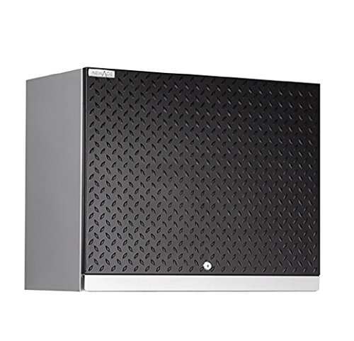 NewAge Products Performance Plus Diamond Plate Series Wall Cabinet, 22 by 28 by 14″, Black