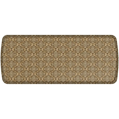 GelPro Elite Premier Anti-Fatigue Kitchen Comfort Floor Mat, 20x48'', Damask Khaki Stain Resistant Surface with therapeutic gel and energy-return foam for health & wellness