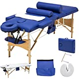 SUNCOO Portable Massage Table Folding Facial Bed Lightweight Wood Frame with Carrying Case, 3 Fold Design,Including Sheet&2 Bolsters&Cradle&Hanger Blue