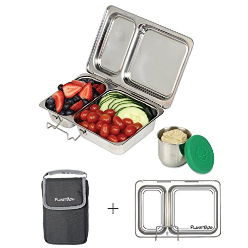 PlanetBox Shuttle Lunchbox- Basic Black Carry Bag with Draw It Yourself Magnets