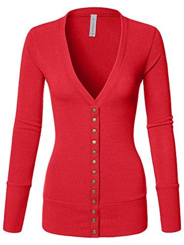 (Luna Flower Women's V-Neck Snap Button Long Sleeve Soft Basic Knit Snap Cardigan Sweater RED Large (GCDW027))