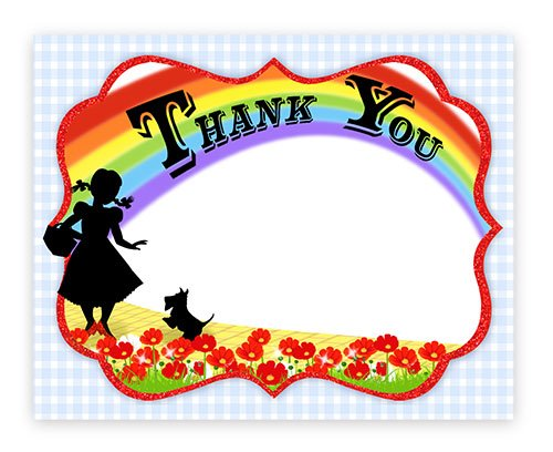 Wizard of Oz Thank You Cards - 10 Thank You Note Cards + 10 Envelopes