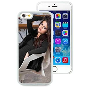 NEW Unique Custom Designed iPhone 6 4.7 Inch TPU Phone Case With Selena Gomez Brown Long Hair_White Phone Case