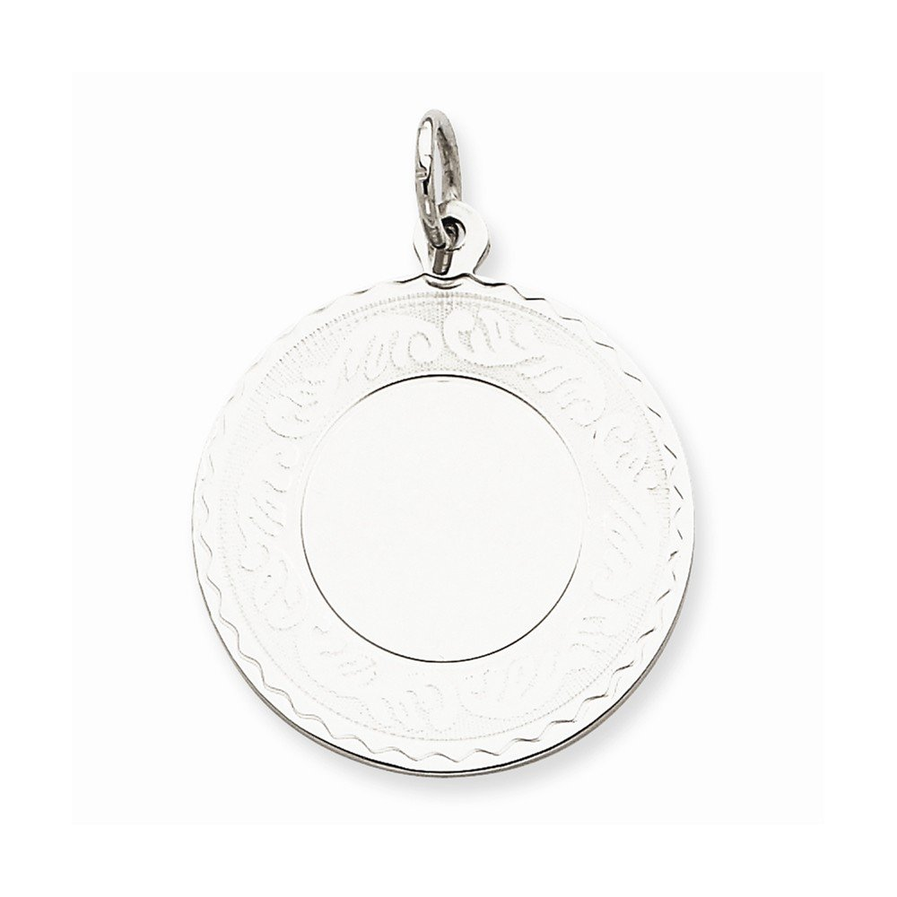 Sterling Silver Engraveable Round with Scroll Disc Charm