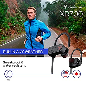 TREBLAB XR700 PRO Wireless Running Earbuds – Top 2019 Sports Headphones, Custom Adjustable Earhooks, Bluetooth 5.0 IPX7 Waterproof, Rugged Workout Earphones, Noise Cancelling Microphone In-Ear Headset