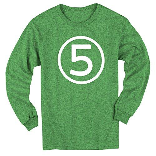 [Happy Family Clothing Big Boys' Fifth Birthday Green Heather Long Sleeve T-shirt (Youth XS (4/5), Green Heather)] (Long Sleeve Birthday Shirt)