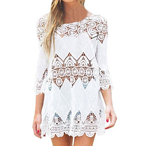 SUNNOW® Damenmode Sommerkleid Strandkleid Bademode Häkeln Bikini Cover Up mit Ärmel Tunika Shirt Oberteile (Einheitsgröße, Weiß)
