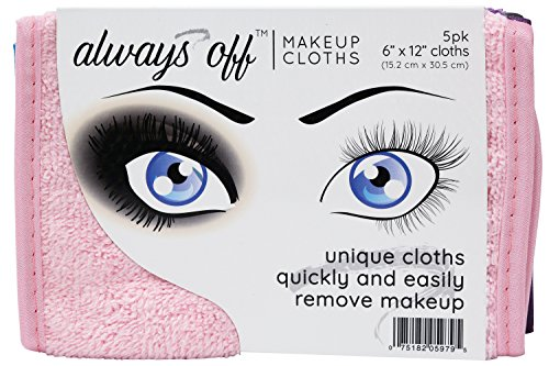 """S&T INC. Always Off Reusable Makeup Remover cloths, 6"""" X 12"""", Solid Assorted Colors, 5 Pack"""