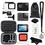 Vamson Accessories for GoPro Hero 6 5 Black Starter Kit Travel Case Small + Housing Case + Tempered Glass(2pcs) + Lens Cover + Silicone Protective Case for Go Pro Hero6 Hero5 Outdoor Sport Kit