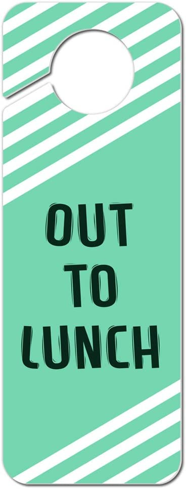 Graphics and More Out to Lunch Teal with White Stripes Plastic Door Knob Hanger Sign