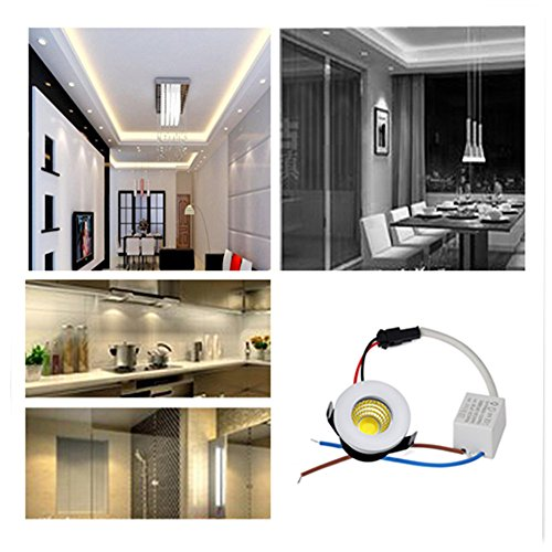Elitlife 5Pack- 3W COB LED Mini Recessed Ceiling Downlight Kit 3000K Silver Aluminum Cover & Acrylic Mirror With LED Driver- ideal forliving room, bedroom,hallway,kitchen,office (Warm White) by Elitlife (Image #6)