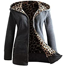 Nmch Women Plus Velvet Leopard Fleece Lined Coat Zipper Hooded Hoodie Sweatshirt Sweater Coat (Dark Gray, L(US:M))