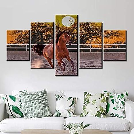 Geiqianjiumai 5 Piezas Tablero Caballo Carreras Luna Agua Pintura Lienzo Cuadro Animal Caballo Cartel Sala decoración Lienzo Pintura sin Marco 40x60cmx2 40x80cmx2 40x100cmx1