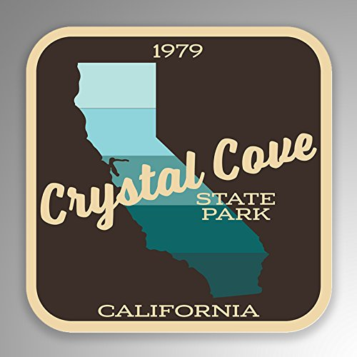 JMM Industries Crystal Cove State Park California Vinyl Decal Sticker Retro Vintage Look 2-Pack 4-inches by 4-inches Premium Quality UV Protective Laminate SPS004 ()