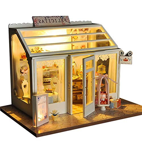 fineshelf 2019 New DIY Dollhouse- DIY Toy House-with LED Light Scale Model Home Decoration Bridal Shop Dessert Shop Flower Shop 3 Models for You to Choose Without Dust Cover