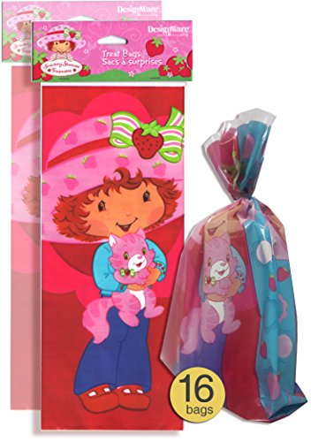 Set of 16 - Strawberry Shortcake Party Bags - Favor Treat Bags - Cellophane Bags - Strawberry Shortcake Party Supplies