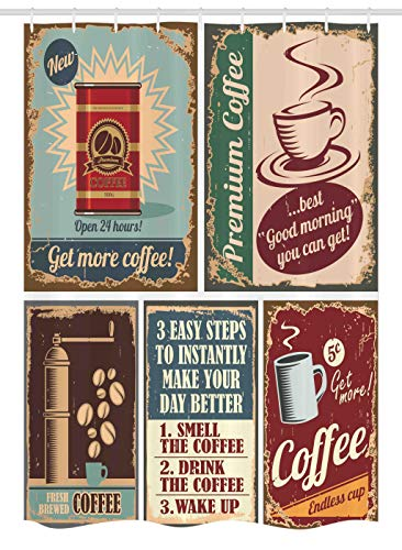 Espresso Poster Bed - Ambesonne 1950s Stall Shower Curtain, Coffee Posters and Metal Signs Artistic Design Bean Cup Tin Espresso Mug Cappuccino Logo, Fabric Bathroom Decor Set with Hooks 54 W x 78 L Inches,
