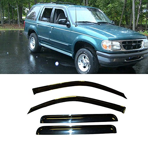 Christmas day VIOGI4pcs Dark Smoke In-Channel Style Sun Rain Guard Vent Shade Window Visors Fit 91-01 Ford Explorer 4-Door Model Only (Door Ford 4 Explorer 1999)