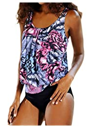 FOURSTEEDS Womens Two Piece Floral Print Push up Padded Tops High Cut triangular Bottom Tankini Swimsuits Bathing Suit S-XXXL