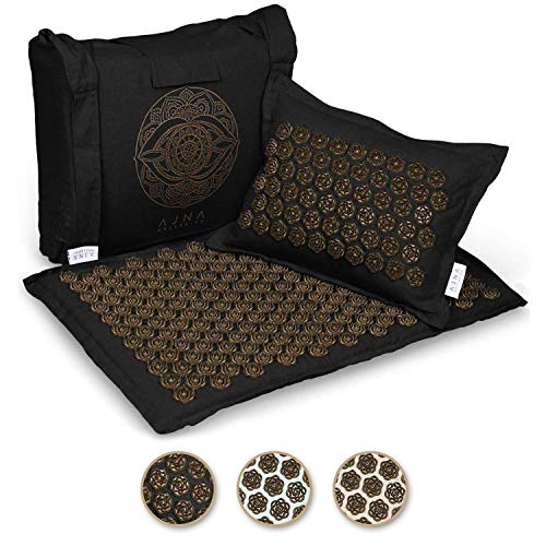 Ajna Acupressure Mat and Pillow Set - Natural Organic Linen Cotton Acupuncture Mat & Bag - Back Pain Relief, Neck Pain Relief, Stress Reliever, Reflexology,Sciatica, Trigger Point Therapy