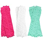 3 Pairs of girls juDanzy baby Leg Warmers for newborn, infant, toddler, child (Newborn (up to 15 pounds), Hot Pink, White, Aqua Rouched)