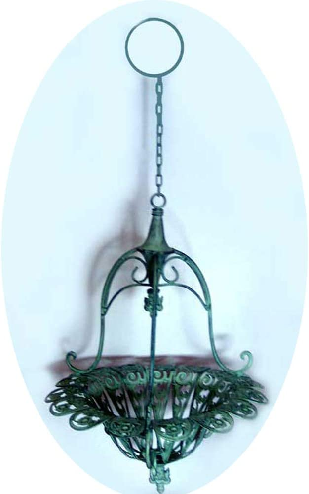 Victorian Large Hanging Planter Mint Green Wrought Iron