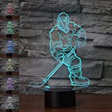 3D New Ice Hockey Athlete Night Light Touch Table Desk Optical Illusion Lamps 7 Color Changing Lights Home Decoration Xmas Birthday Gift