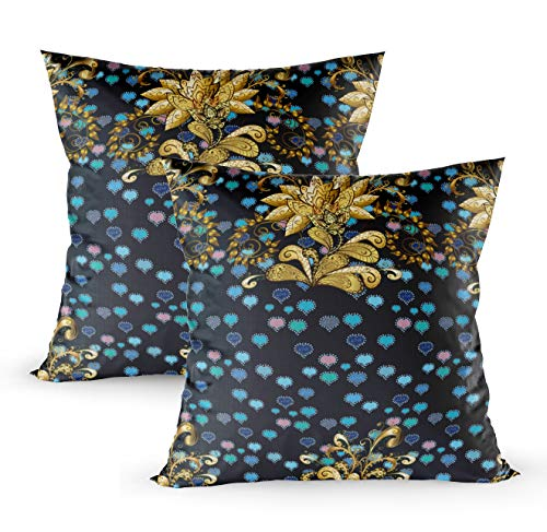 KIOAO Decorative ThrowPillowCovers,Square Throw Pillowcase Covers Antique Golden Repeatable Wallpaper Golden Floral Ornament in Baroque Style Golden Element O Printed with Both Sides 18X18Inch 2Pcs