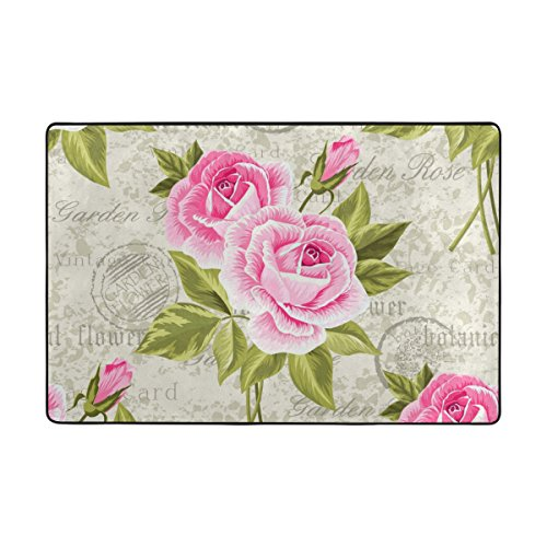 My Little Nest Vintage Pink Roses Area Rug 4 x 6 Lightweight Modern Floral Mat Non-Slip Indoor Outdoor Decor Soft Carpet For Bedroom Living Dining Room