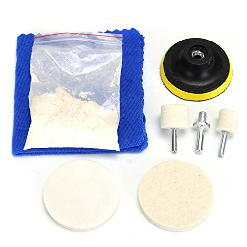 70g Powder (8pcs Glass Plolishing Tool 70g Cerium Oxide Polishing Powder and Polishing Wheel)
