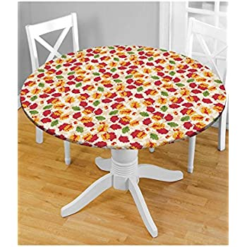 Amazon Com Holiday Fitted Vinyl Tablecloths 48 Quot Round