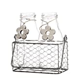 V-More Rustic Glass Milk Bottle Flower Bud Vase with Chicken Wire Basket and Wooden Flower Decoration 6.25-inch Tall for Home Decor Wedding Party and Celebration (Set of 1)