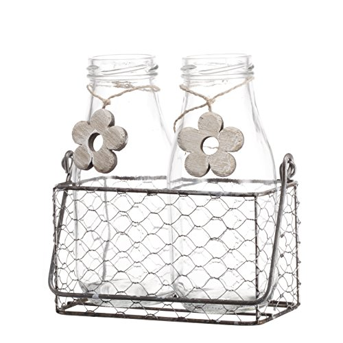 V-More Rustic Glass Milk Bottle Flower Bud Vase with Chicken Wire Basket and Wooden Flower Decoration 6.25-inch Tall for Home Decor Wedding Party and Celebration (Set of 1) ()