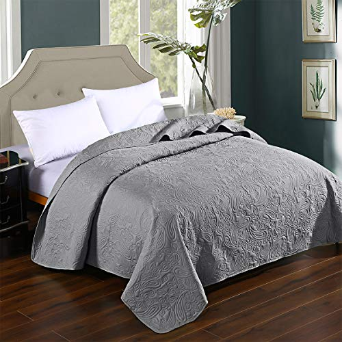 HollyHOME Super Soft Solid Single Bed Quilt Bedspread Comforter Bed Cover, Floral Pattern, Grey, Twin from HollyHOME