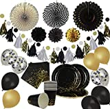 Party Chic Black and Gold Dot Party Pack Disposable Gold Foil 10...